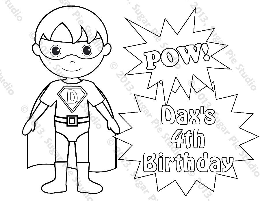 Personalized Printable Superhero Boy Birthday Party Favor Childrens Kids Coloring Page Book Activity Pdf Or Jpeg File