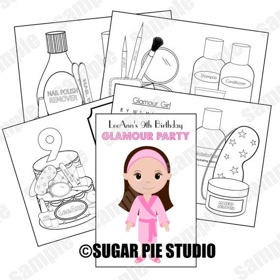 Spa coloring activity book PDF or JPEG TEMPLATE Makeup salon theme Favor Kids Printable Personalized Custom
