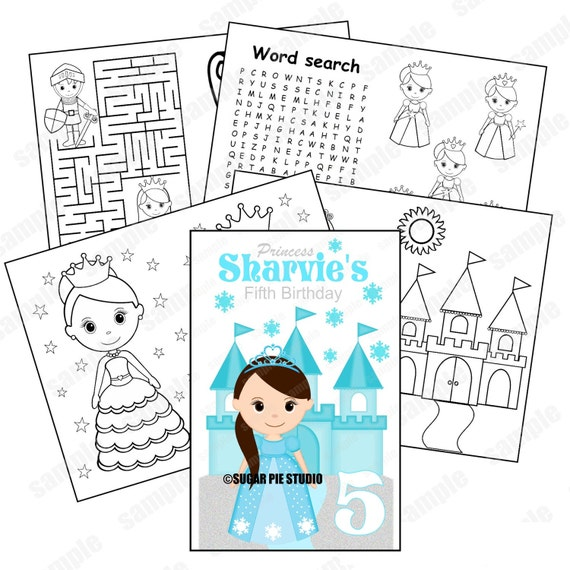 Snow Princess coloring book birthday party favor  Kids coloring activity book PDF or JPEG TEMPLATE