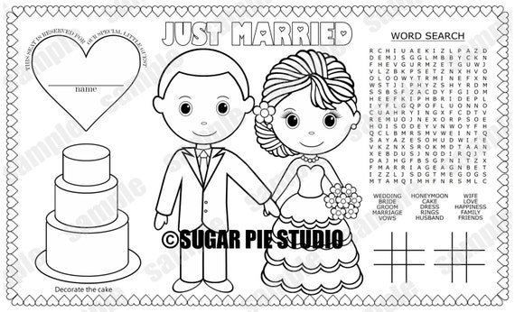 INSTANT DOWNLOAD Printable Bride Groom coloring page place mat place-mat activity wedding Favor childrens kids placemat pdf and jpeg