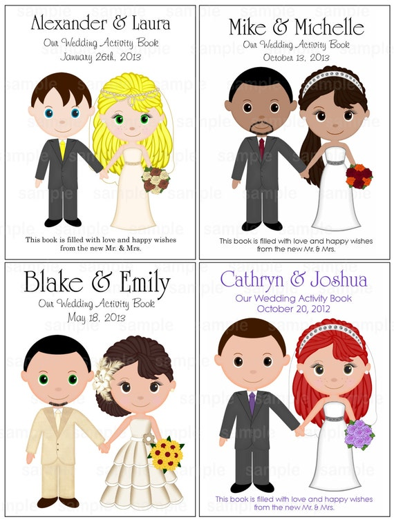 Printable Personalized Custom 8.5x 5.5 Wedding Favor Kids coloring activity book PDF or JPEG TEMPLATE