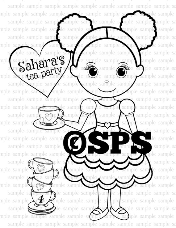 PRINTABLE Personalized Tea Party Birthday Party Favor Childrens coloring page activity PDF or JPEG file