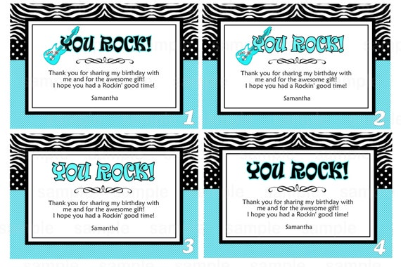 Printable Rockstar thank you card note Custom Personalized | Etsy