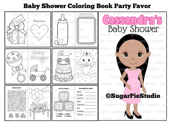 Baby Shower Coloring book favor activity PDF or JPEG file