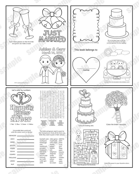 Mini Printable Personalized Wedding coloring activity book  Favor Kids 4.25 x 5.5  PDF or JPEG TEMPLATE