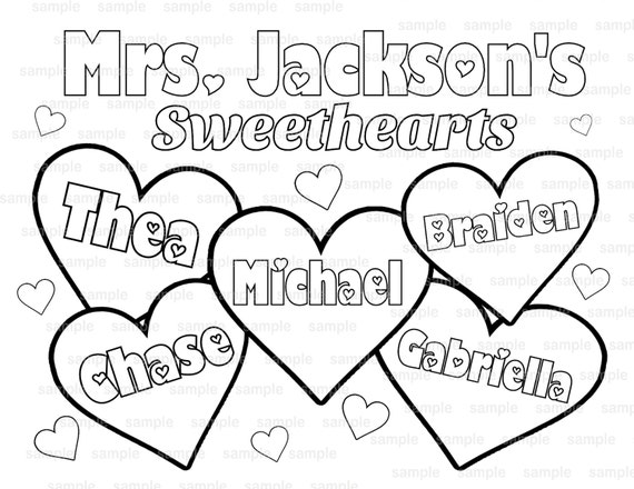 Valentine's Day Teacher's Classroom coloring page PDF or JPEG file coloring page