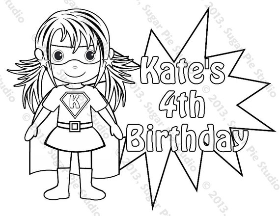 Instant Download PDF Superhero Girl Power Coloring Pages Superhero Birthday Party Favors Affirmation Gift Set of 9