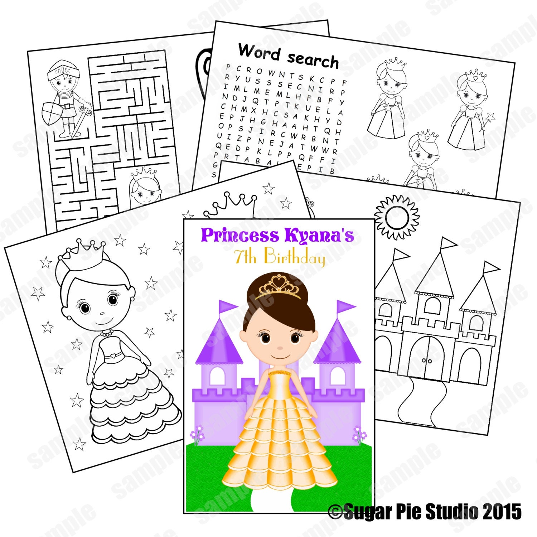 Princess coloring activity book PDF or JPEG TEMPLATE Favor