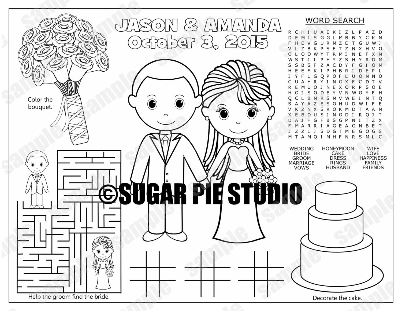 Bride groom kids coloring page Wedding activity favor   Etsy