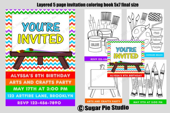 DIY Printable Layered 5 page arts and crafts painting birthday party invitation coloring book Digital File