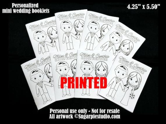 PRINTED Wedding coloring books x5 Favor Kids mini size 4.25 x 5.5