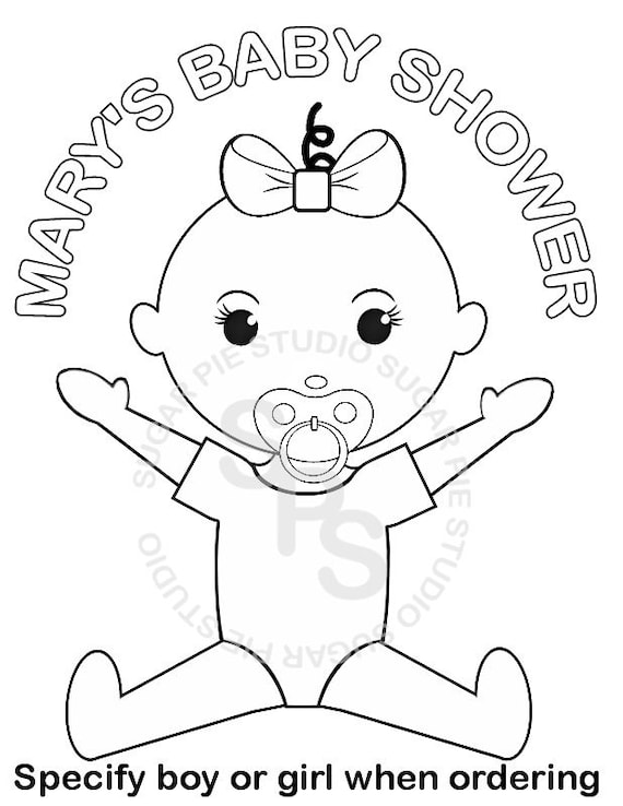 Personalized Printable Baby Shower Favor childrens kids coloring page activity PDF or JPEG file