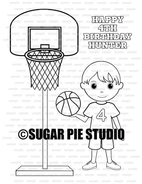 Basketball coloring page Party Favor childrens kids coloring activity PDF printable