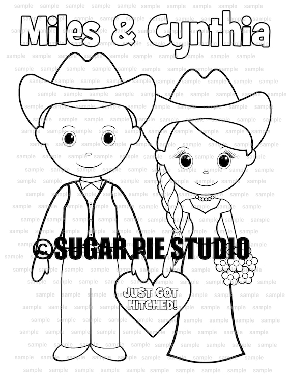 Country Western Wedding coloring activity book Printable Personalized Favor Kids 8.5 x 11  PDF or JPEG TEMPLATE