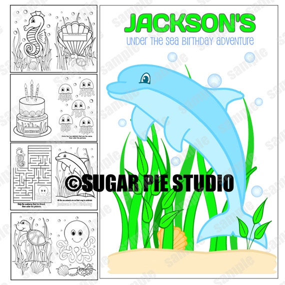 Under The Sea Party Favor Coloring Activity Book PDF Or JPEG TEMPLATE Printable Personalized