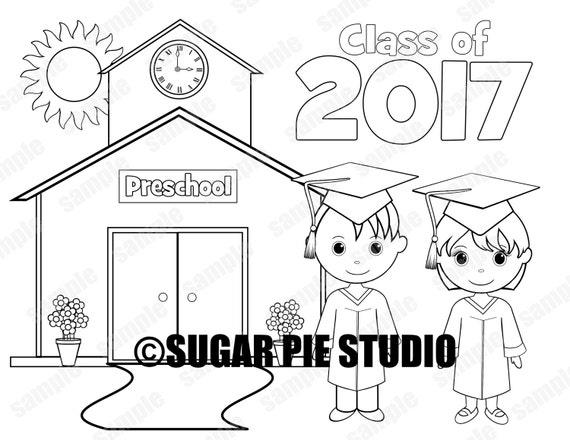 Printable Preschool Graduation favor Kids coloring page