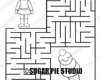 Personalized Printable ice cream coloring page maze  Birthday Party Favor PDF or Jpeg file