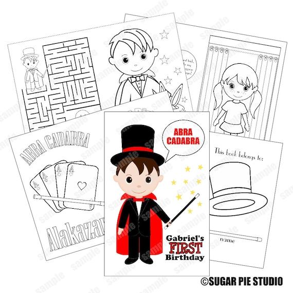 Printable Personalized Custom 8.5x 5.5 Magic Magician Favor Kids coloring activity book PDF or JPEG TEMPLATE
