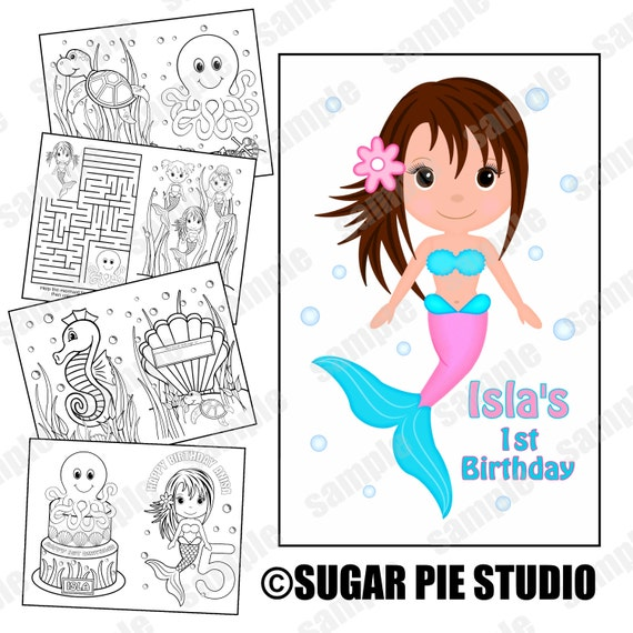 Mermaid party favor coloring book PDF or JPEG TEMPLATE Printable Personalized Custom 8.5x 5.5 Favor Kids