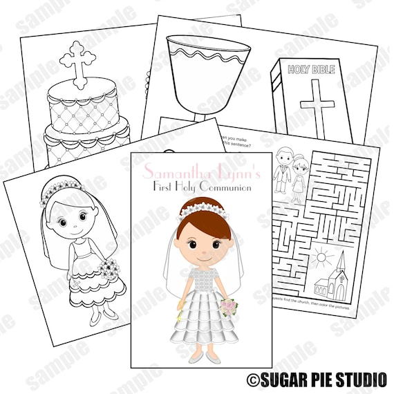 Communion coloring activity book PDF or JPEG TEMPLATE Printable Personalized Custom