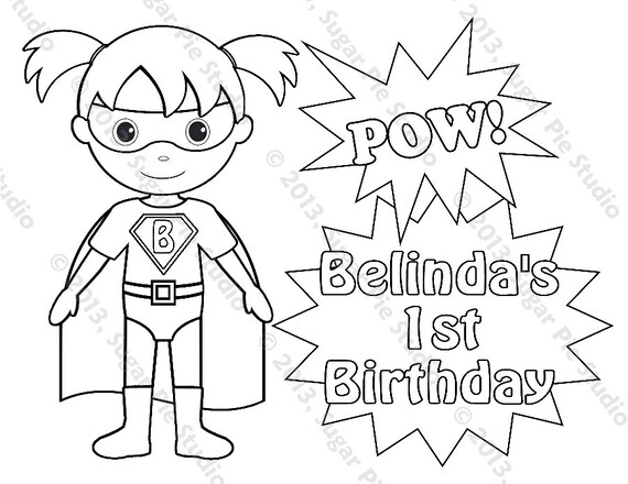Personalized Printable SuperHero Super hero Girl Birthday Party Favor childrens kids coloring page book activity PDF or JPEG file