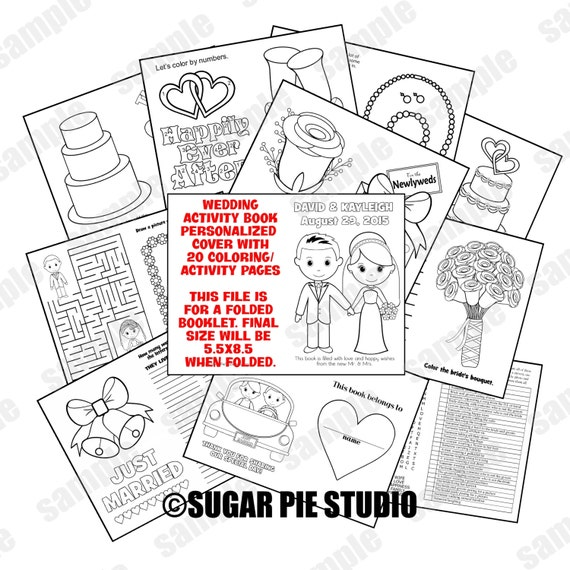 Wedding coloring activity book Printable Personalized Favor Kids 5.5x8.5 PDF or JPEG TEMPLATE