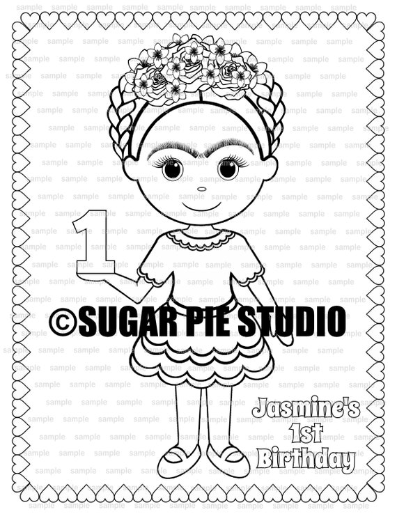 Frida inspired coloring page Birthday Party Favor childrens kids coloring page book activity PDF or JPEG file