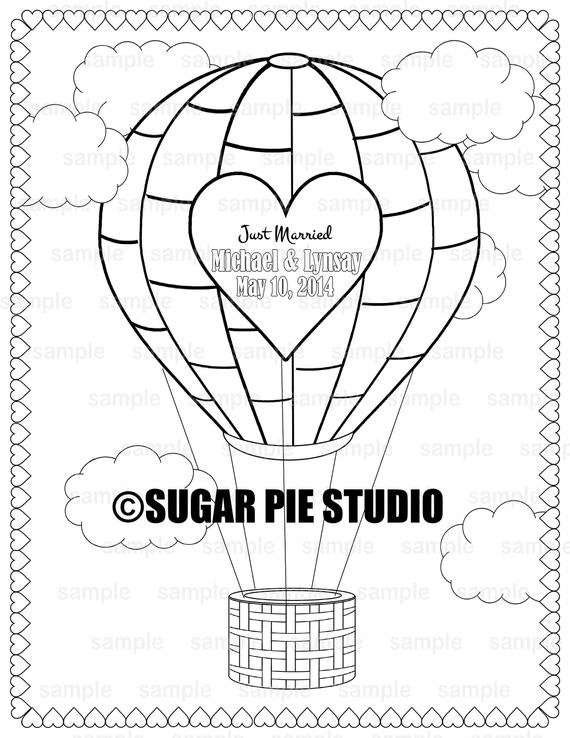Personalized Printable Hot air balloon Wedding Birthday Party Favor childrens kids coloring page activity PDF or JPEG file