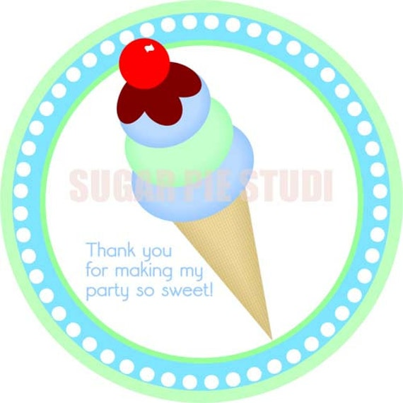 Instant download Sweets candy shop ice cream 2.5 inch Printable Favor tags / cupcake toppers Digital File