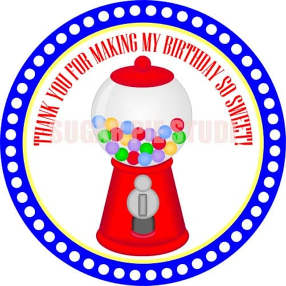 Instant download Sweets candy shop gumball machine 2.5 inch Printable Favor tags / cupcake toppers Digital File