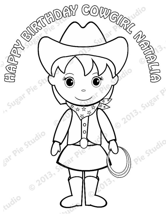 Personalized Printable Cowgirl Pigtails Birthday Party Favor childrens kids coloring page book activity PDF or JPEG file