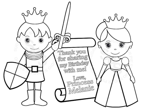 Personalized Printable Princess Prince Knight Scroll  Birthday Party Favor childrens kids coloring page activity PDF or JPEG file