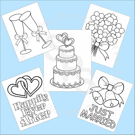 5 Printable Wedding Favor Kids Coloring Pages PDF Or JPEG File Etsy