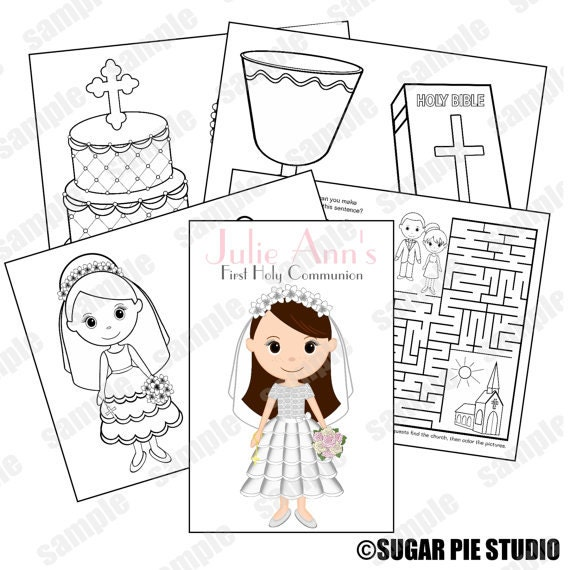 Printable Personalized Custom Communion Favor Kids coloring activity book PDF or JPEG TEMPLATE