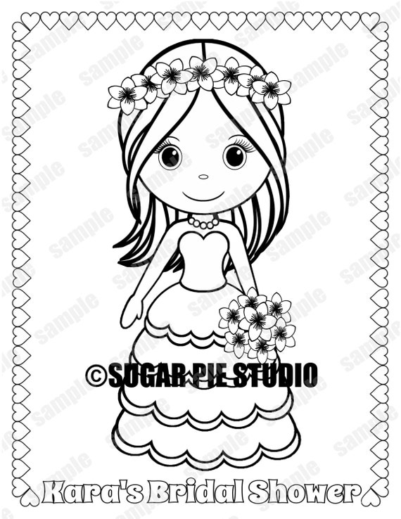Bridal Shower Coloring Page Party Favor Childrens Kids Etsy