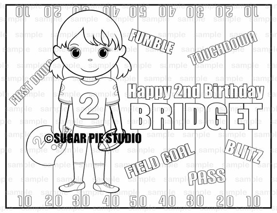 Personalized Printable Football Birthday Party Favor childrens kids coloring page book activity PDF or JPEG file