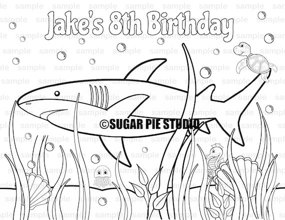 Shark Birthday Party Favor childrens kids coloring page activity PDF or JPEG file