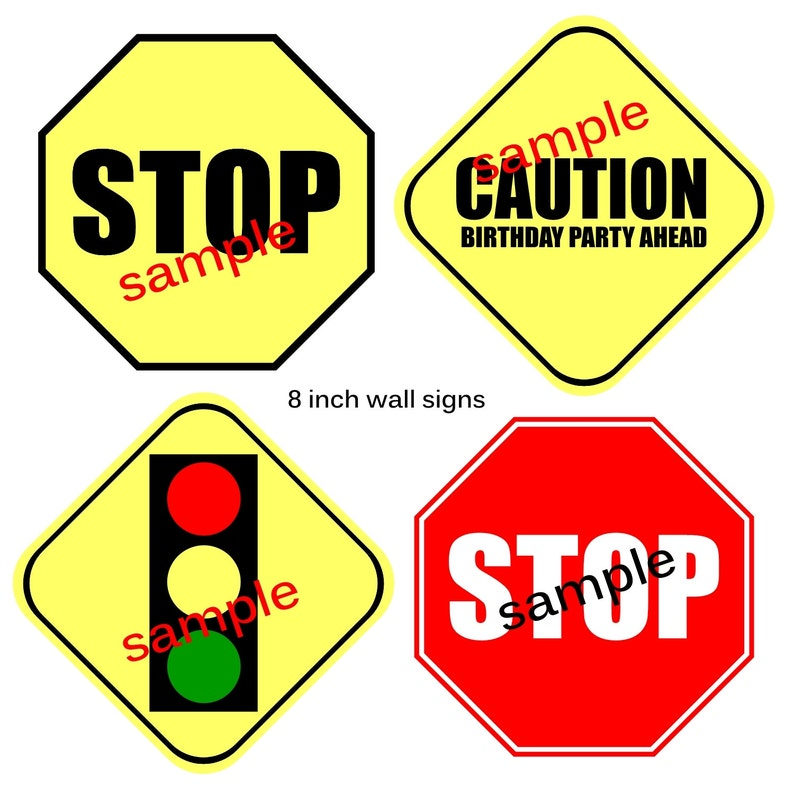 graphic relating to Printable Traffic Sign named Instantaneous obtain Targeted traffic Symptoms 8 inch Printable Social gathering decoration symptoms Electronic Record