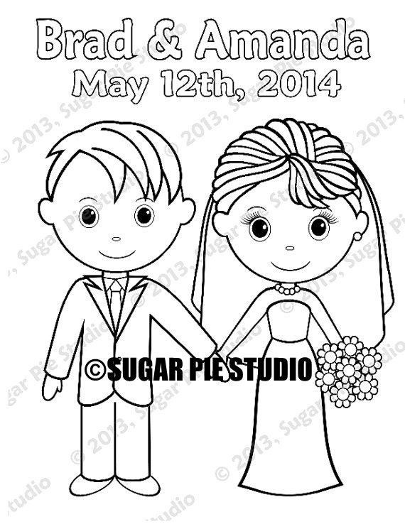 Country western Bride Groom  Wedding Party Favor childrens kids coloring page activity Personalized Printable PDF or Jpeg file