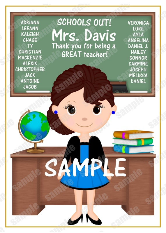 Digital File Printable Teacher classroom End of year school Personalized card gift