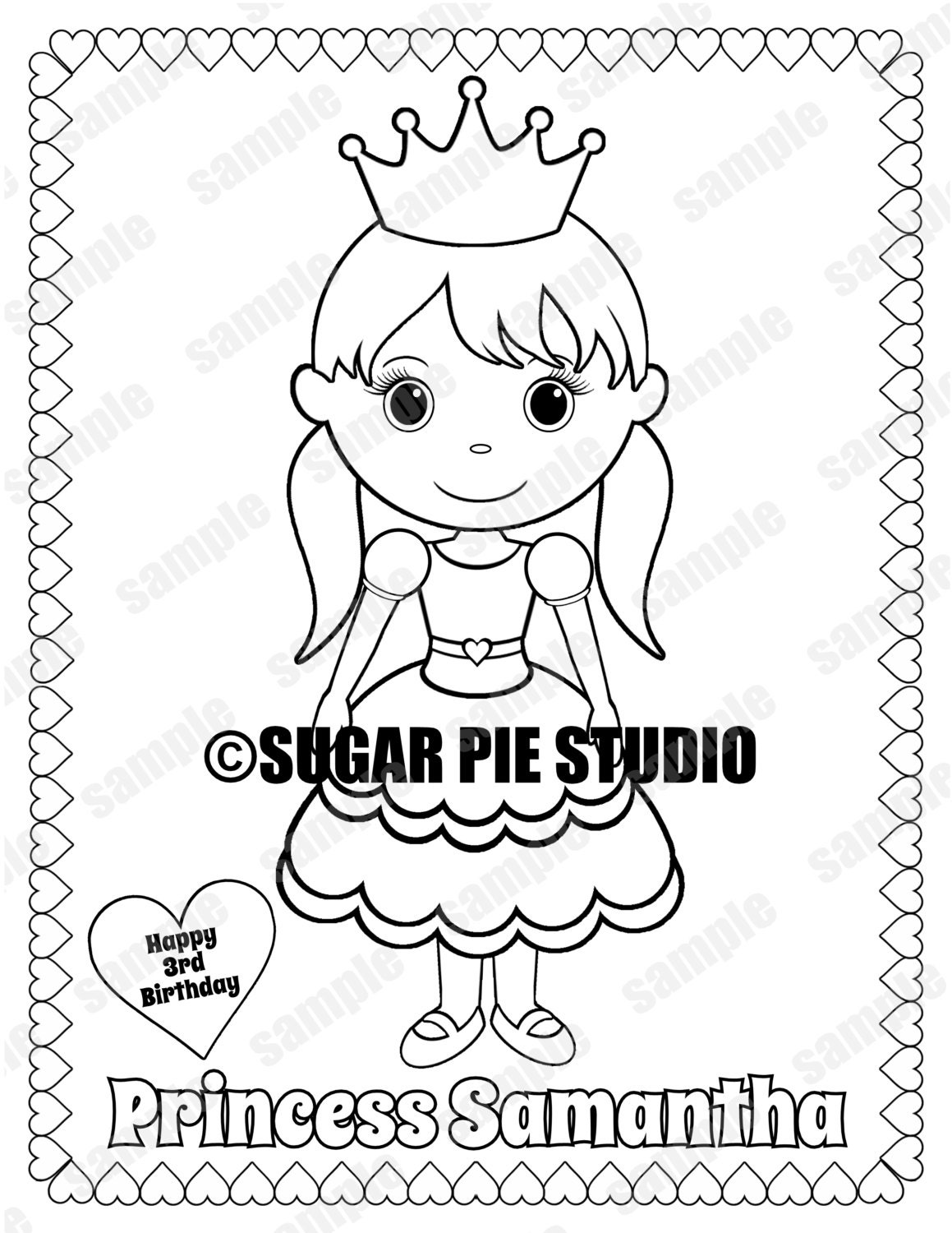Happy Birthday with Love coloring page for kids, holiday coloring ... | 1500x1159