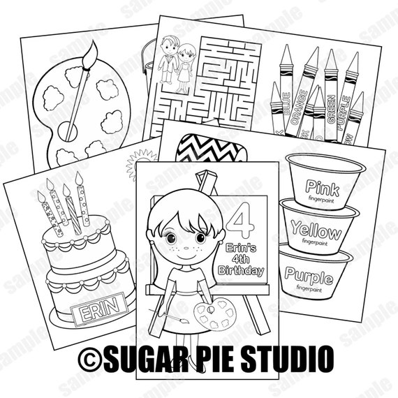Printable Personalized Custom 8.5x 5.5 Art Craft Party Favor Kids coloring activity book PDF or JPEG TEMPLATE