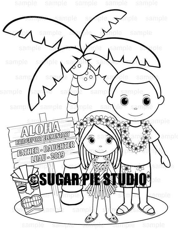 Father daughter dance luau coloring page activity Personalized Printable  PDF or JPEG file