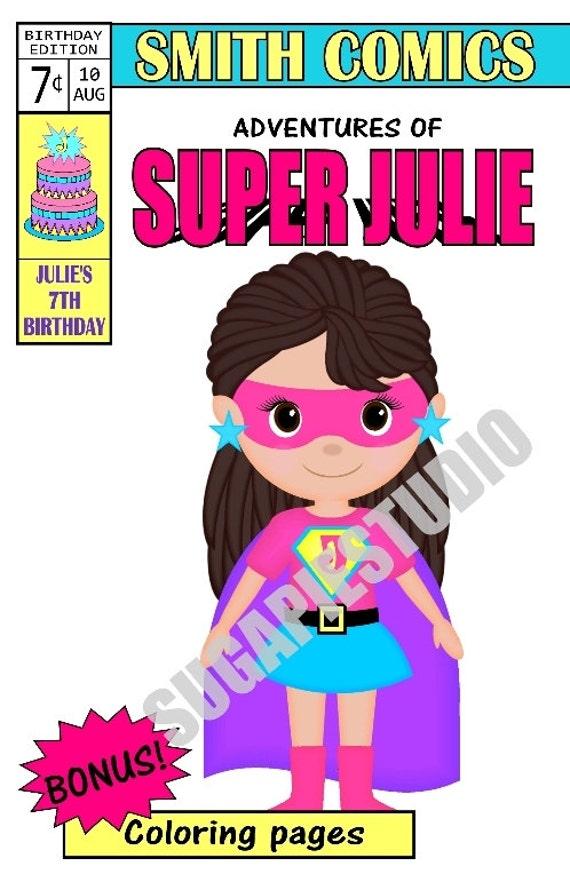Superhero coloring activity book Printable Personalized Custom 8.5x 5.5 Superhero Favor Kids PDF or JPEG TEMPLATE
