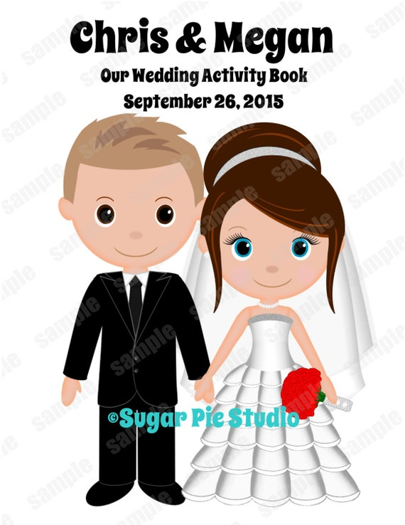 Wedding coloring book personalized childrens kids favor activity Printable Digital file PDF or JPEG TEMPLATE