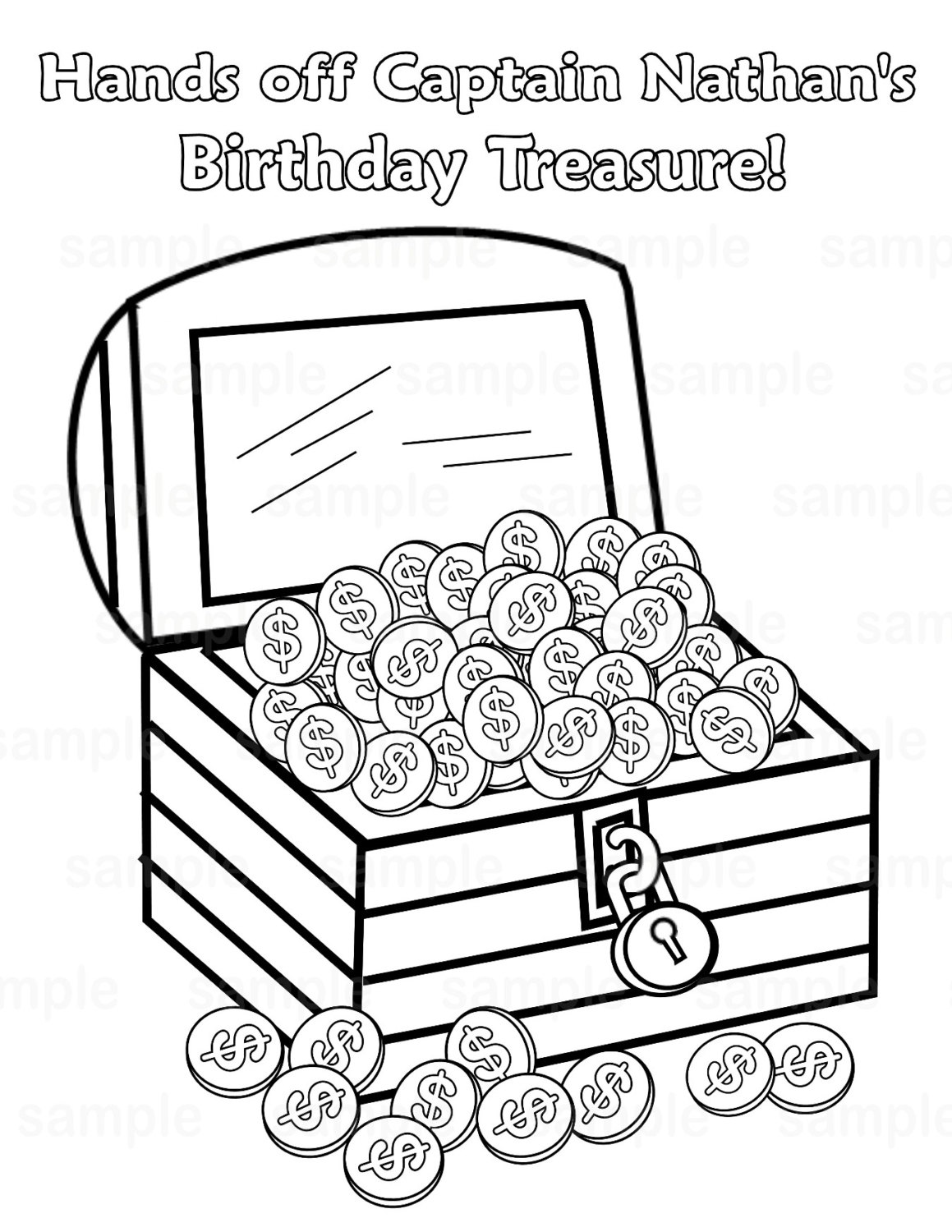 pirate treasure chest coloring pages - photo#16