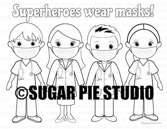 Superhero Doctor Nurse superheroes wear masks coloring page PDF file Instant download