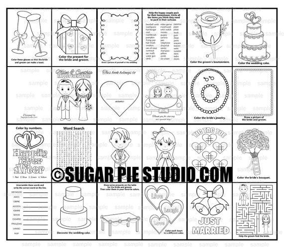 Wedding coloring book Favor Kids mini size 4.25 x 5.5  PDF or JPEG TEMPLATE