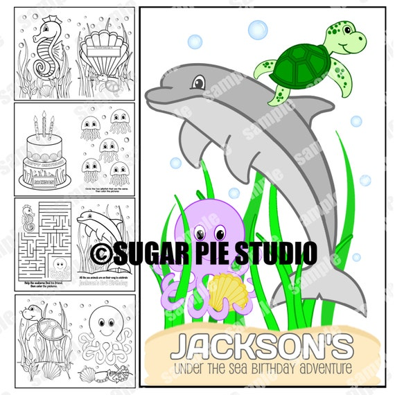 Sea Animals party favor coloring activity book PDF or JPEG TEMPLATE Printable Personalized
