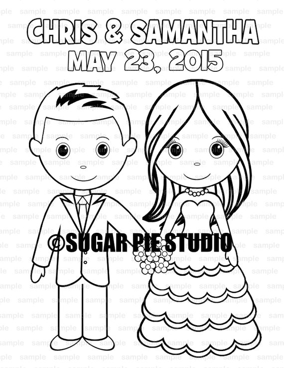 Wedding coloring book activity Favor Kids 8.5 x 11  PDF or JPEG TEMPLATE